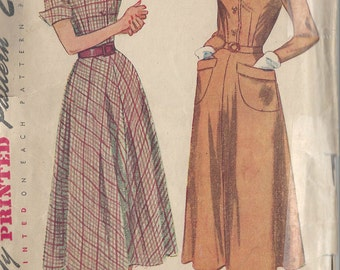 "1948 Vintage Sewing Pattern B36"" DRESS (3) Simplicity 2617"