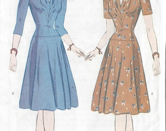"1942 Vintage Sewing Pattern DRESS B31 1/2""-32 1/2""-34"" (R419) Butterick 6239"