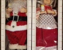 Vintage Telco Animated And Illuminated Motionette of Christmas Mr And Mrs Santa Claus Figures 1995