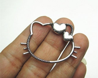 Hello Kitty Charm Pendant Antique Silver Drop Handmade Jewelry Finding 32x45mm 3pcs
