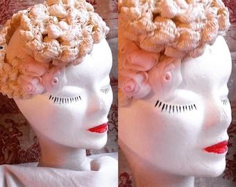retro Cap braided with rose chiffon