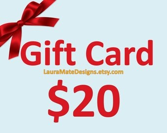 Gift Card for LauraMateDesigns. Gift Voucher. Digital Gift Coupon. Instant Download Gift Certificate.