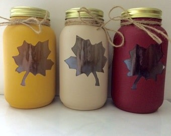 Fall Leaf Mason Jars, Fall Mason Jars, Mason Jars, Home Decor