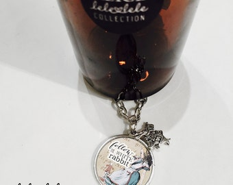 Necklace with Follow the Rabbit pendant  - Alice in Wonderland Collection