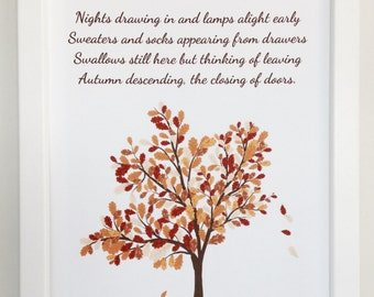 Autumn Descending download, autumn print, autumn poem, digital print