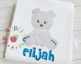 Polar bear applique embroidery design 3 sizes christmas bear