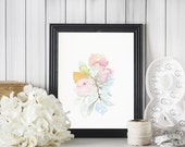 Pink peony harmony  - A fine art print of my watercolor painting
