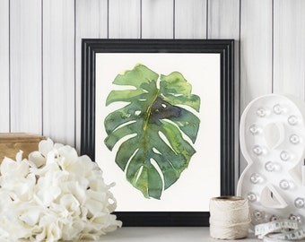 Monstera Leaf No. 1 // Tropical Palm Leaf - A fine art print of my watercolor painting