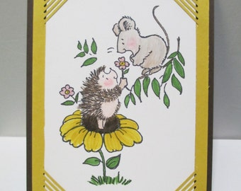 Mouse and Hedgehog on a Flower Card, Greeting Card, Blank Inside
