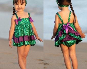 Mermaid custom Mermaid outfit, mermaid dress birthday, mermaid romper