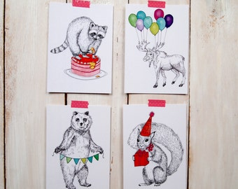 4 postcards of party animals
