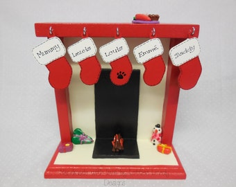 Christmas Mini Mantle, Miniature Fireplace, Christmas festive display ornament,