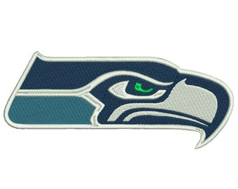 4 sizes Seattle Seahawks Embroidery Design, Football Team Logo Machine Embroidery Pattern, Instant Download