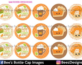INSTANT DOWNLOAD- Fall Treats- 1inch Bottlecap Images- 4x6 Digital Collage Sheet