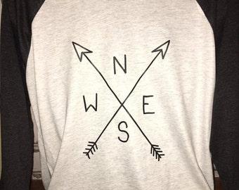 Men's Raglan Wanderer Baseball Shirt~ Compass and Arrow Tee