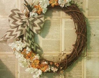 Creme and Orange Chevron Burlap Gardenia Grapevine  Door Wreath Wall Hanging 5