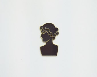 Roman Bust Enamel Pin in Black
