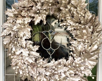Silvered Leaf Grapevine Wreath with Pearls from The Chattanooga Wreath Company