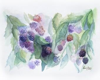 Watercolour September Blackberries, original art, wall art, cute, summer, kitchen art, bedroom art, Christmas gift, not art print, painting
