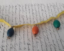 Unusual Pretty Antique French Wooden Bead Bobble Trim c1900 For Sewing Projects