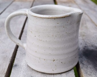 Milk jug *Made to order* small handmade ceramic jug with white speckled stoneware glaze. hand crafted Wheel thrown pottery
