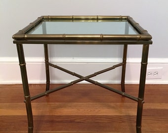 Hollywood Regency Brass Faux Bamboo Side Table