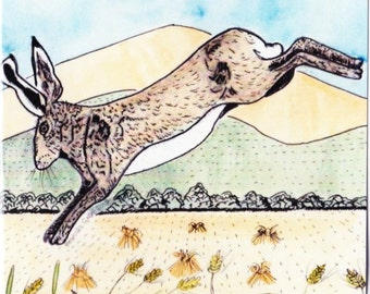 Hare and Garway Hill, blank greetings card for your own message
