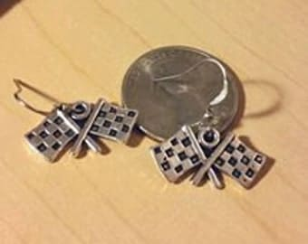 Checkered flags Nascar racing silver earrings