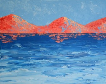 Original Orange Mountains and Blue Water Acrylic Painting
