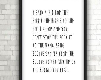 Rappers Delight, Print, Music, Lyrics,  Home Decor, Black and White Art