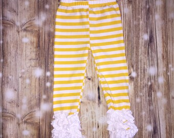 Yellow/White Striped Icing Ruffle Leggings