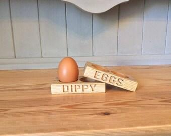 Solid oak bespoke egg cups