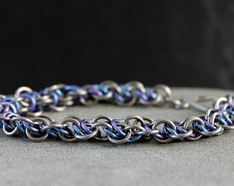 Niobium Bracelet - Niobium Jewelry - Statement bracelet - Unique Bracelet - Gift For Her - Chainmail Bracelet - Complex Jewelry