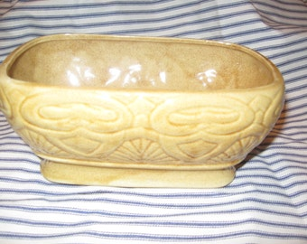 Vintage Yellow Pottery Planter Flower Pot Retro Yellow Decor Free Shipping