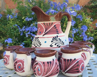 Traditional Mexican Handmade Clay/Ceramic Pitcher with 6 Cup Set