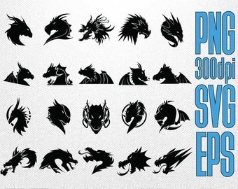 Dragon Silhouette // Legendary Creature Silhouette // Clipart in PNG Transparent SVG Cut File EPS Vector
