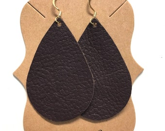 Dark Brown Leather Statement Earrings
