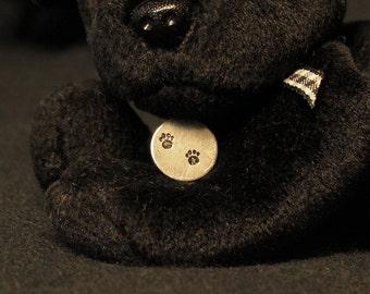 Stamped Metal Paw Print Charm