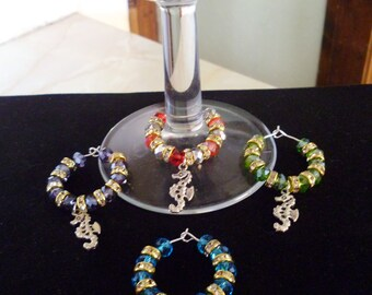 Handmade Rondell  Crystal & Seahorse Wine Glass Charms - any colour