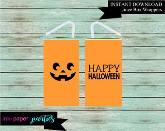 Printable Halloween Pumpkin Juice Box Wrappers Party Favors Favor Labels Digital File Instant Download