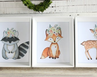 Woodland Printables, Nursery Printables, Nursery Prints Girl, Nursery Wall Art, Nursery Art Print Set, Fox Printable, Instant Download 5x7