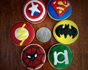 One Dozen Mini Superhero Cookies