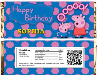 Peppa Pig Themed Chocolate Bar Wrappers. Download Customize Print Peppa Pig Chocolate Bar Wrappers Peppa Pig Chocolate Bar Wraps 1.5 oz 43g