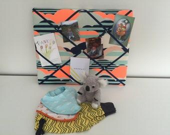 Orange and Navy Clouds YOU Board, memory board, ribbon board, bulletin board, message board, home decor, photo board, wall hanging, gift