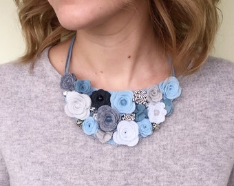 Felt Flower Collar - Felt Necklace