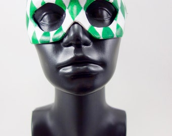 Green Jester Leather Mask