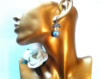 Loops bowtie silver, butterfly blue, blue butterfly rings, loops loops blue ball, 3D, blue Bohemian loop Pearl Earrings