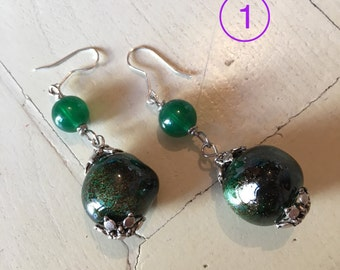 Ceramic earrings carved and decorated. Handmade. Handmade ceramic earrings. One of a kind!