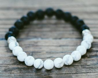 Lava stone bracelet, Love energy bracelet, Beaded bracelet, Balance bracelet, Boho, Cacholong bracelet