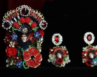 Massive Frida Kahlo Cameo Victorian Cuff Bracelet Bangle